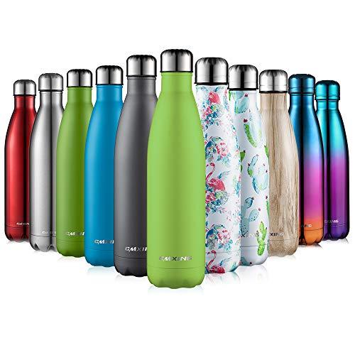 CMXING Doppelwandige Thermosflasche 500 mL / 750 mL mit Tasche BPA-Frei Edelstahl Trinkflasche Vakuum Isolierflasche (Apfelgrün, 750 mL)