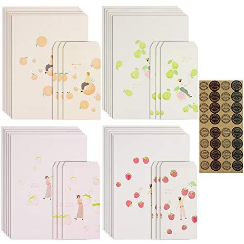 「セエダ」レターセット 封筒12枚 便箋24枚 四季の果物 お祝い手紙 カード 挨拶状