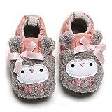 COSANKIM Baby Boys Girls Slippers Stay On Non Slip Soft Sole Newborn BootiesToddler Infant First Walker Crib Shoes (12-18 Months M US Toddler, G-Grey owl)