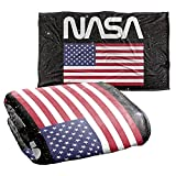 NASA Space Worm Logo and American Flag Silky Touch Super Soft Throw Blanket 36' x 58'