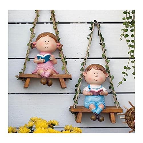 H-ei Niño Swing, Adornos al Aire Libre Artesanía de jardinería, Esculturas de Resina de jardín, 16x14.5cm