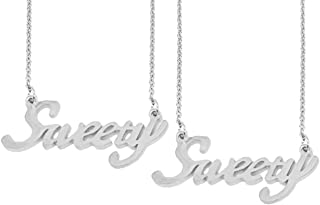 Utkarsh (Set Of 2 Pcs) Silver Color Fancy & Stylish Trending Valentine's Day Special Metal Stainless Steel Sweety Name Let...