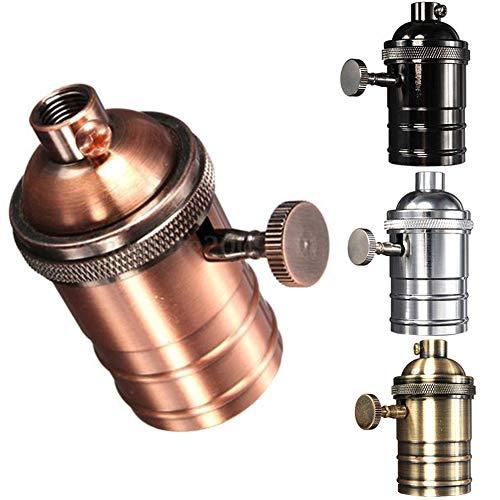 2 portalámparas vintage de latón E26/E27, rosca Edison, con interruptor de encendido/apagado 72mm*34mm Aeneous Brass