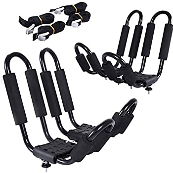 2 Pairs Kayak Roof Rack Universal Kayak Carrier J-Bar Rack with 4 Tie Down Straps Canoe Boat SUP Surfboard Ski Board Rooftop Mount Rack on Car SUV and Truck Crossbar
