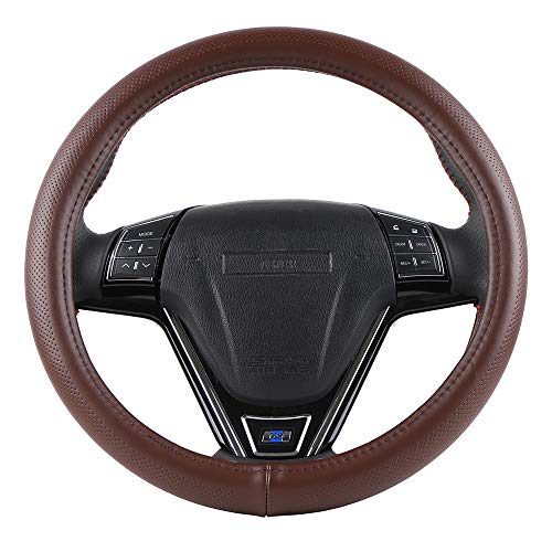 O SHI CAR Silica Gel Liner Steering Wheel Cover No Smell 15 Inch Universal Cowhide Cover Good Visual Match to Brown Automotive Interior