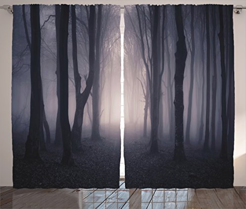 Ambesonne Farm House Decor Curtains, Path Through Dark Deep in Forest with Fog Halloween Creepy Twisted Branches Picture, Living Room Bedroom Decor, 2 Panel Set, 108 W X 84 L Inches, Pink Brown