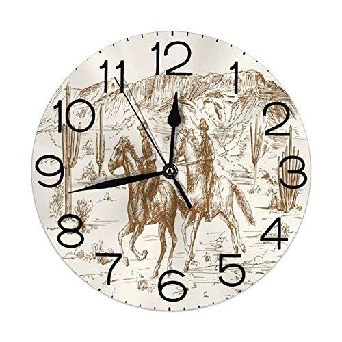 ALLdelete# Wall Clock Decoración de hogar de Reloj de Pared Redondo, Occidental, ilustración de Dibujado a Mano de Tema de país del Desierto del Salvaje Oeste Americano con Vaqueros, Crema de ámbar