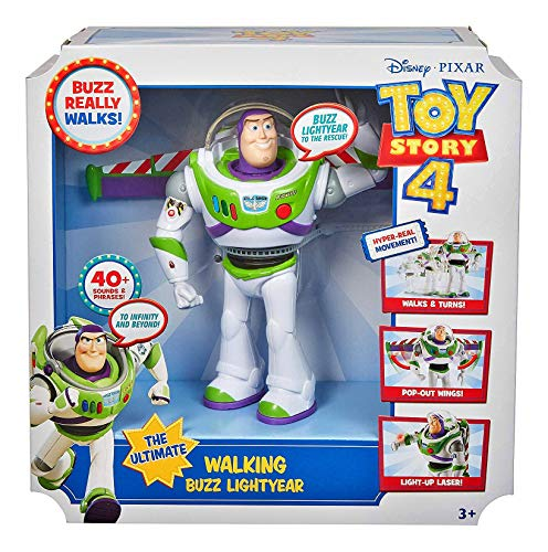 Disney and Pixars Toy Story Ultimate Walking Buzz Lightyear, 7 in / 17.78 cm-Tall Figure with 20+ Sounds and Phrases, Walking Motion and Expandable Wings, Gift for Kids 3 Years and Older with Expanda
