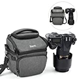 Zecti Camera Case Bag, Waterproof Medium Retractable Camera Equipment Bag with Rain Cover for Nikon, Canon, Sony, Fuji Instax, DSLR, Mirrorless Cameras and Lenses- Dark Grey