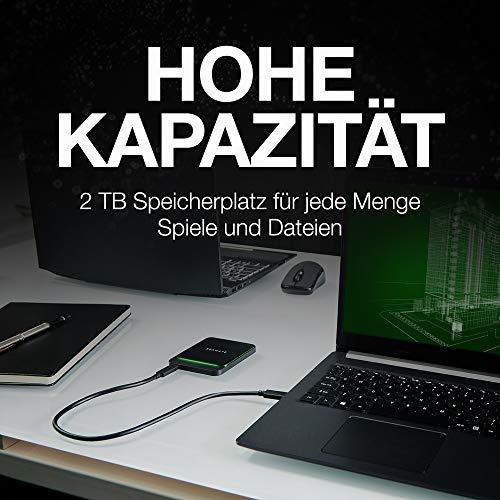 Seagate BarraCuda Fast SSD, portable externe SSD, 1 TB, USB-C, LED Beleuchtung, USB 3.0/2.0 Type-A kompatibel, PC & Mac, inkl. 3 Jahre Rescue Service, Modellnr.: STJM1000400