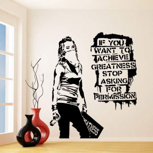 Adhesivo de pared de vinilo Banksy Desea alcanzar la grandeza, Graffiti Street Art Sticker Creativo vinilo pegatinas de pared decorativos