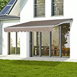 Creamy 10'x8' Manual Awning Canopy Patio Deck Retractable Sun Shade Shelter