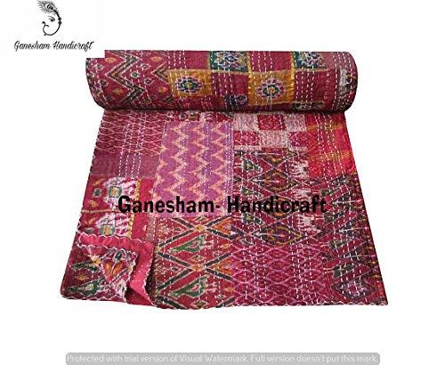 Couverture indienne hippie indienne pour la maison et la chambre à coucher, couvre-lit bohémien, couvre-lit indien, couvre-lit en coton, Kantha Bedding vintage Kantha faite à la main