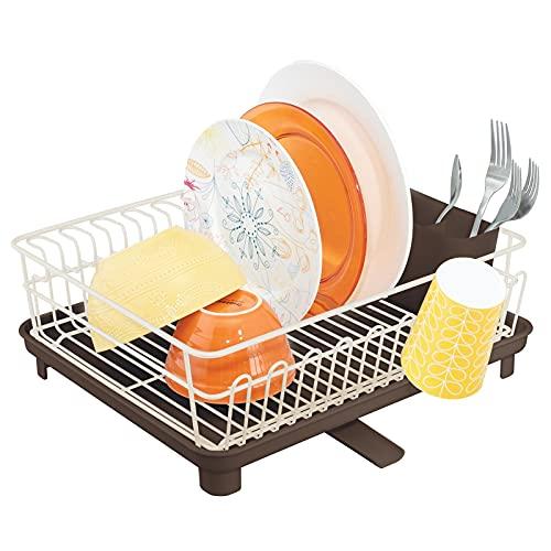 mDesign Escurridor de vajilla de 3 piezas – Cesta para cubiertos extraíble de metal y alfombra absorbente de plástico resistente al calor – Escurridor de platos, vasos, cubiertos, etc. – crema