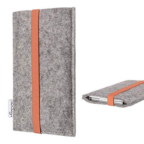 flat.design Handy Hülle Coimbra kompatibel mit BlackBerry KEY2 (Dual-SIM) - Schutz Hülle Tasche Filz Made in Germany hellgrau orange