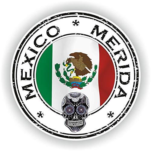 Tiukiu Mexiko Merida Tag der Toten Siegel Aufkleber Runde Flagge für Laptop Buch Kühlschrank Gitarre Motorrad Helm Werkzeugkasten Tür PC Boot