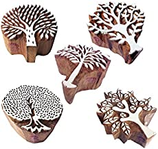 Jaipuri Shapes Flower and Tree Wood Block Print Stamps (Set of 5)