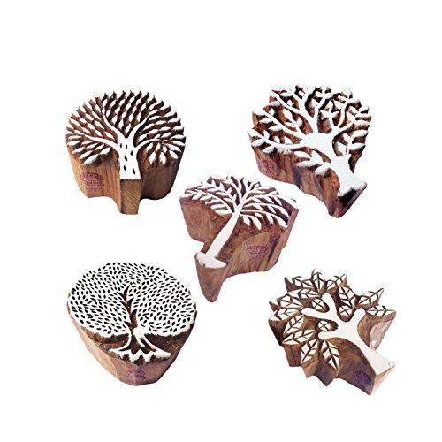 Indisch Gestalten Blume und Baum Holz Blöcke Drucken Stempel (Set von 5)