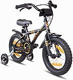 Prometheus Bicicleta Infantil | 14 Pulgadas | niño y niña | Negro Mate Naranja | A Partir de 4 años | con ruedines y Freno de contrapedal | 14' Modelo BMX 2019