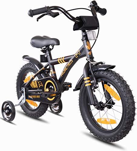 Prometheus Bicicleta Infantil | 14 Pulgadas | niño y niña | Negro Mate Naranja | A Partir de 4 años | con ruedines y Freno de contrapedal | 14