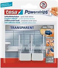 tesa Powerstrips Decoratieve Haken Groot - Transparant / Wit - Klevende haken voor glas, tegels, hout, kunststof en andere...