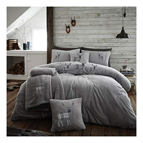 Lions Teddy Fleece Duvet Cover with Pillow Case Thermal Fluffy Warm Soft Bedding Set (Grey, Double)