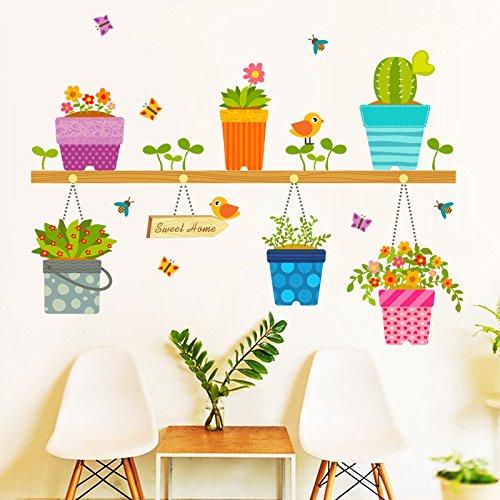 HCCY De mooie cartoon stickers op de potten bloempot creatieve posters kleur zelfklevende muurstickers om de slaapkamer muur posters te versieren 75 * 54cm
