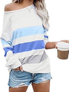 Loyomobak Women Color Block Cold Shoulder Pullover Plus Size Loose Stripe T Shirts