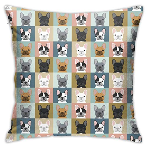 no-brand French Bulldog DogDecorative Pillow Case Home Decor Square 18X18 Inches Pillowcase