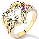 Jude Jewelers 18K Gold Plated Mom Mother's Day Butterfly Style Ring (Gold, 7)