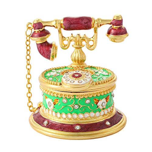 QIFU Vintage Hand Painted Telephone Hinged Jewelry Trinket Box with Rich Enamel and Sparkling Rhinestones Unique Gift Home Decor Best Ornament Your Collection
