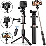 Selfie Stick Bluetooth, 4-in-1 Extendable Selfie Stick Tripod with Wireless Remote Shutter...