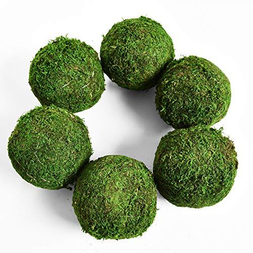 Vumdua Moss Ball, Natural Decorative Green Globes with Handmade, Hanging Balls Vase Bowl Filler for Home Party &Weddings Display Decor Props (3.5