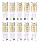 Pack de 10 bombillasG9LED 3000K 2835SMD, CA 220–240V, CRI  82, bombilla de cerámica LED, ángulo de haz de 360°, blanco cálido, 5w Warmweiß, G9, 5.00W, 220.00V