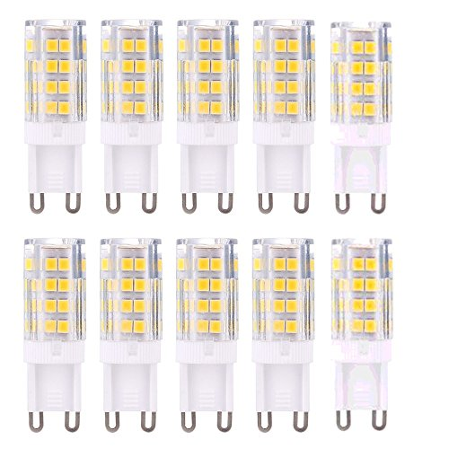 G9 LED Lampe Ampoules, Blanc Chaud 3000K 5W G9 LED Ampoule Lumiere équivalent aux ampoules halogènes de 40 W 420 lumens; not dimmable, lot de 10