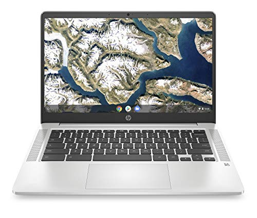 HP Chromebook 14a-na0012ng (14 Zoll / Full HD) Laptop (Intel Celeron N4000, 4GB LPDDR4 RAM, 64GB eMMC, Intel UHD Grafik 600, Chome OS) silber