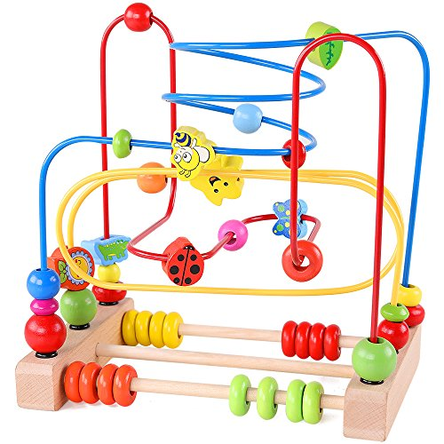 Product Image of the QZMTOY Bead Maze Toy for Toddlers Wooden Colorful Roller Coaster Educational...