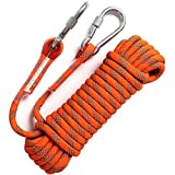 GINEE Outdoor 10mm Static Orange Rock Climbing Rope 35FT with Carabiner,Magnet Fishing Rope,Arborist Tree Climbing Gear with Safety Ropes,Rescue Grappling Lifeline Escape Descender Abseiling Rope
