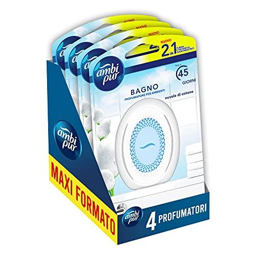 Ambi Pur Bagno Profumatore per Ambienti Nuvole di Cotone, 4 Confezioni, Con Tecnologia Elimina Odori, Durata fino a 6 Mesi di Profumo