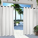 Exclusive Home Curtains Indoor/Outdoor Solid Cabana Grommet Top Curtain Panel Pair, 54x96, Winter White, 2 Count
