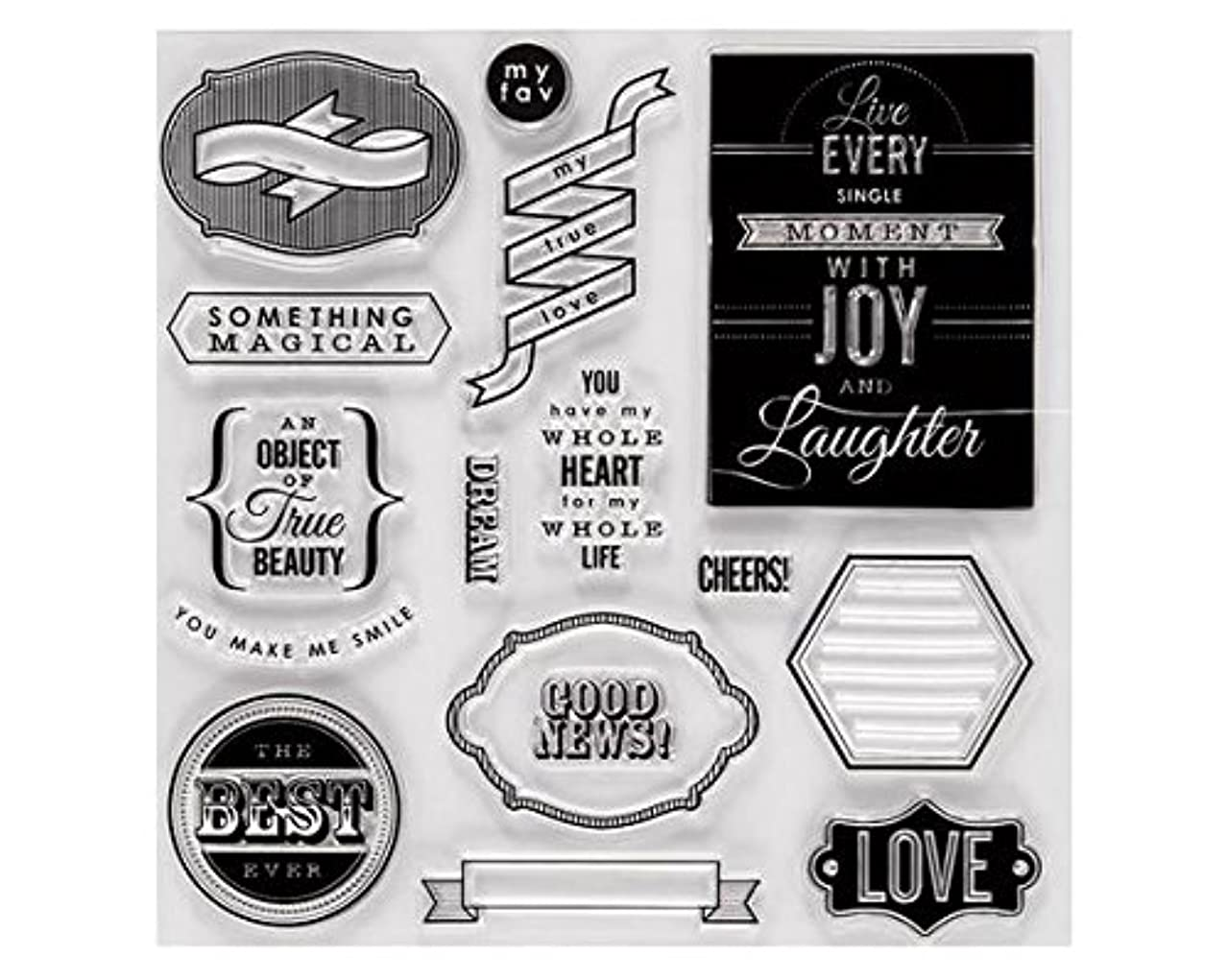 Fiskars Crafts Special Sentiments Stamps, 8 by 8-Inch, Clear