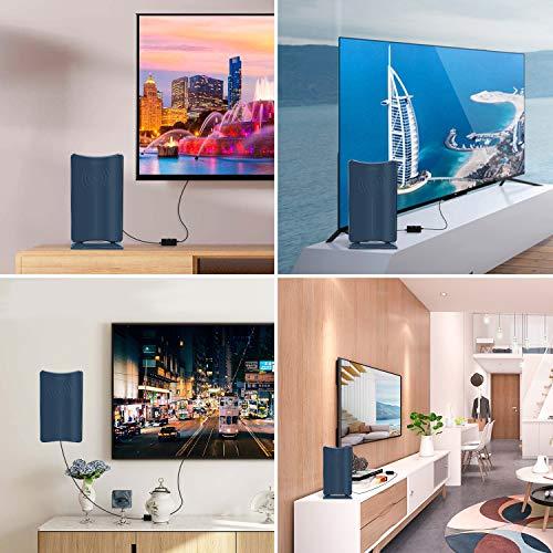 室内HDテレビアンテナ,【最新強化版】地デジアンテナ卓上TVアンテナUHFVHF対応ブースター120KM受信範囲USB式避雷設置簡単-ブルーブラック