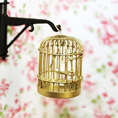 1:12 Metall Vogelkäfig mit Vogel Vogeldollhouse Miniatur Gold-Ton