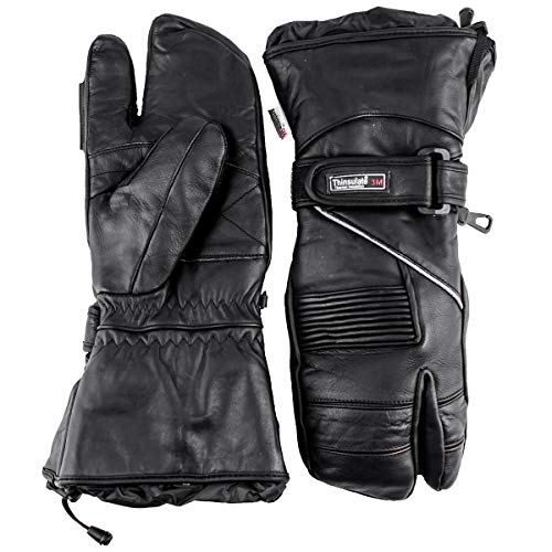 Premium Leather Snowmobile 3-Finger Trigger Finger Gloves Mittens Gauntlet Snow (XL X-Large)