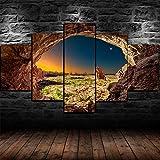 Yumeng® - 5 lienzos Parque Nacional de Arcos de Arenisca Utah 5 Piezas Cuadros de Pared para Sala de Estar Pintura en Color Arte decoración del hogar Listo para Colgar | 200x100cm