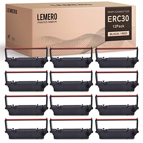 lemero ERC-30 ERC 30 34 38 B/R Compatible with Ribbon Cartridge for use in ERC38 NK506 (12-Pack, Black Red)