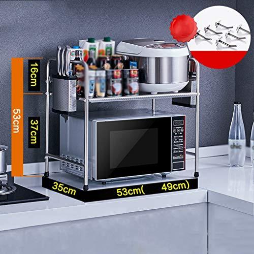 ZXL Opbergrek oven, roestvrij staal, mild, frisse, comfortabele studie keuken woonkamer magnetron plank vloer opslag laag 2 opslagrek 53/58 cm & times; 35 cm & times; 53 cm ver