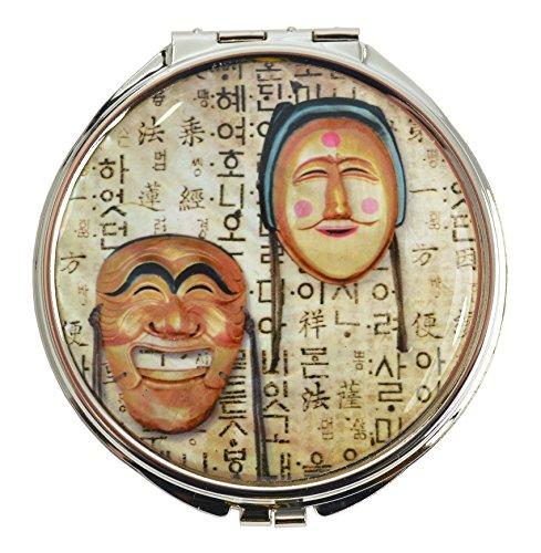 Petit Miroir de Maquillage, double face, 1x Grossissant x2 - inox, léger et fins, rangement ideal pour sac à mains