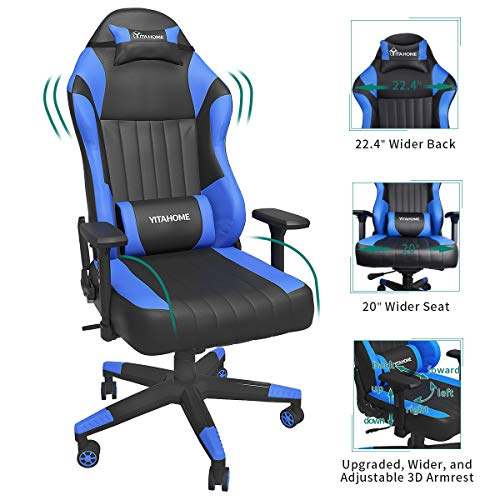 YITAHOME Big and Tall Racing Gaming Chair - High Back Computer Game Chair PU Leather Desk Office Chair with 3D Adjustable Armrests (Deluxe Blue)