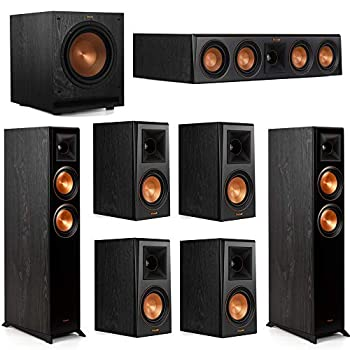 Klipsch 7.1 System with 2 RP-5000F Floorstanding Speakers 1 Klipsch RP-404C Center Speaker 4 Klipsch RP-500M Surround Speakers 1 Klipsch SPL-100 Subwoofer